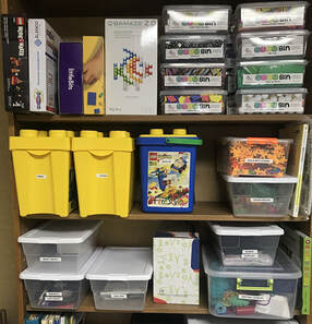 Shelves of Maker Space Kits and Materials